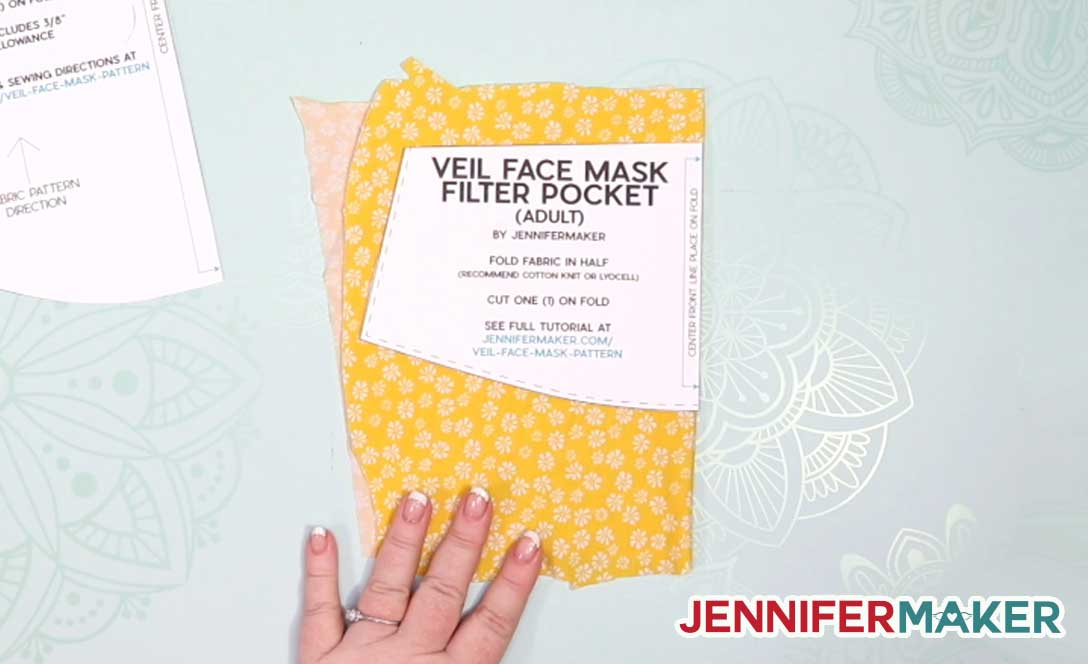 Cutting out a filter pocket from 100% cotton knit for the veil face mask