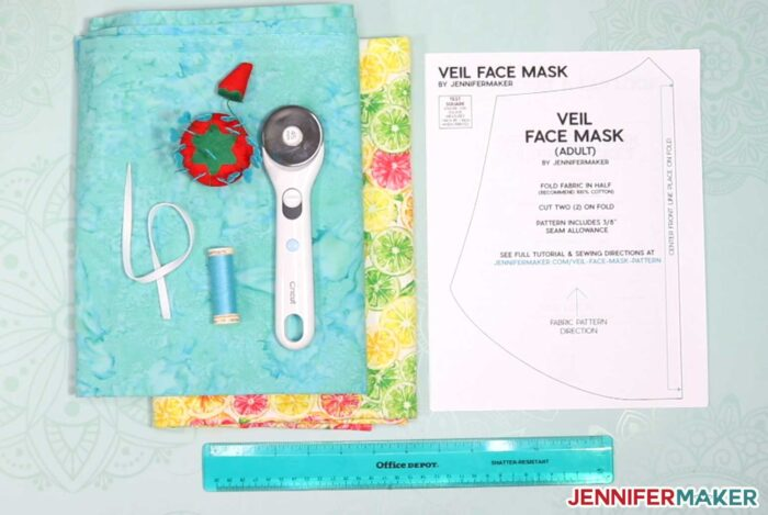 Materials used to make a cool veil face mask pattern by JenniferMaker