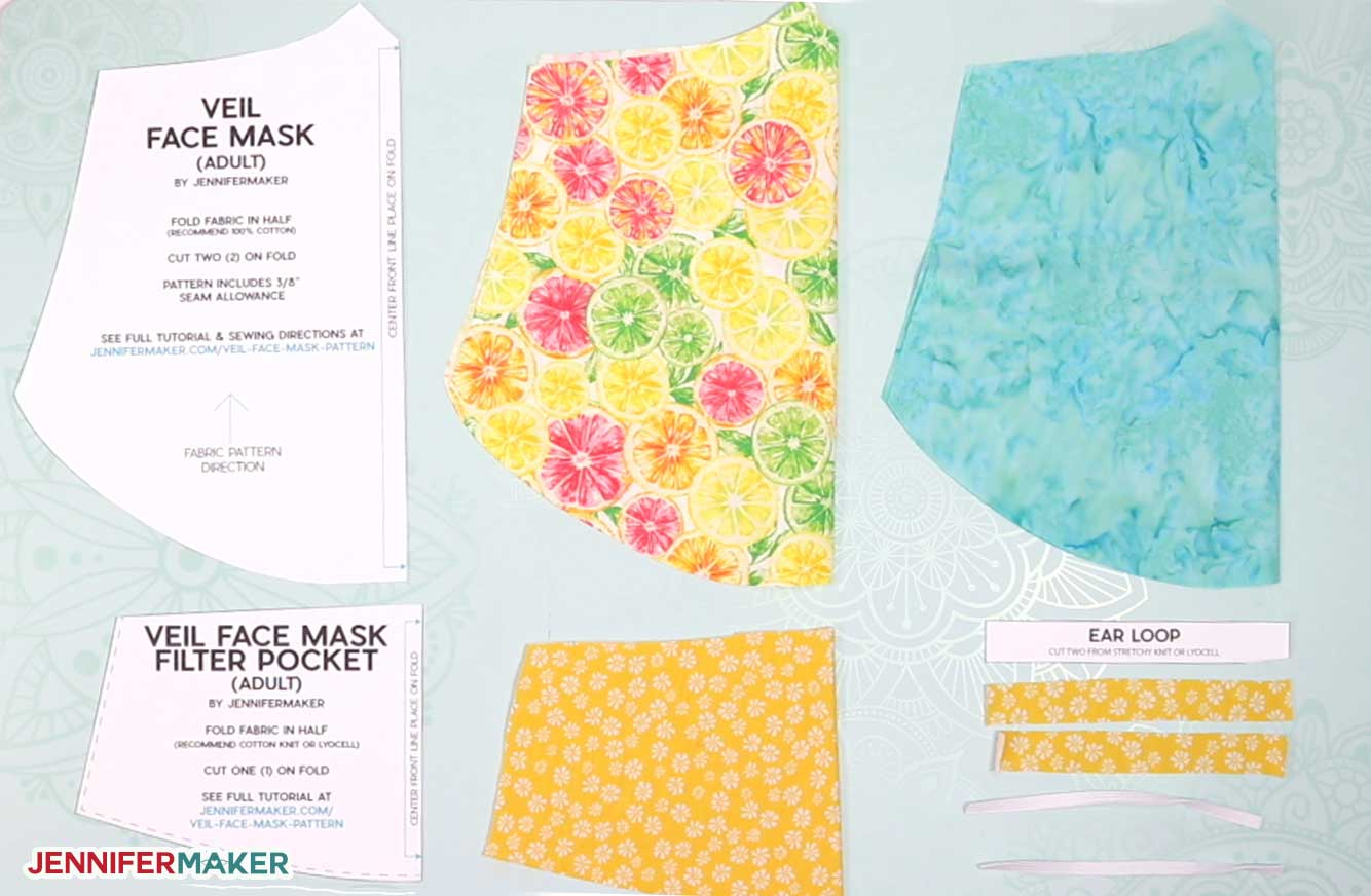 Cut fabric pieces to make the easy veil face mask pattern by JenniferMaker