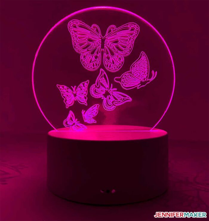 Engraved acrylic light with butterflies