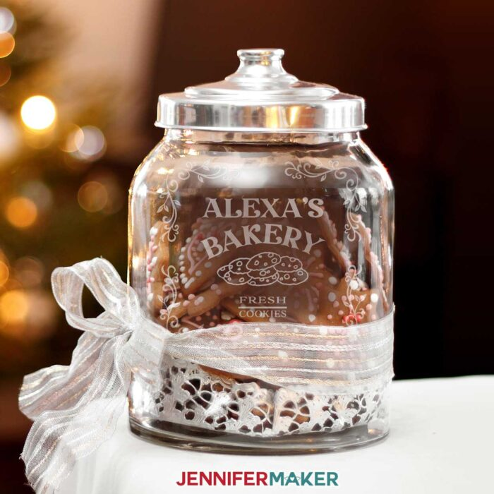 Pretty etched glass stencil for a cookie jar at Christmas