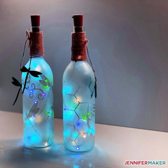 fairy lights in wine bottle art