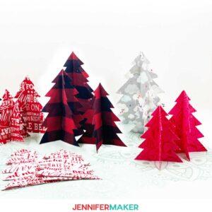 No-Sew Fabric Christmas Trees cut on a Cricut