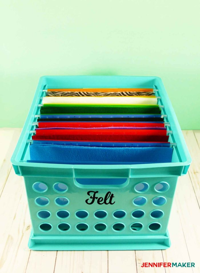 Store your felt in a filing system so you can always find it -- this is a great fabric organization idea!