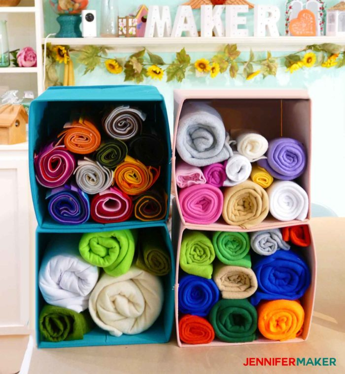 Roll up your fleece and store it in cubes for easy fabric organization!