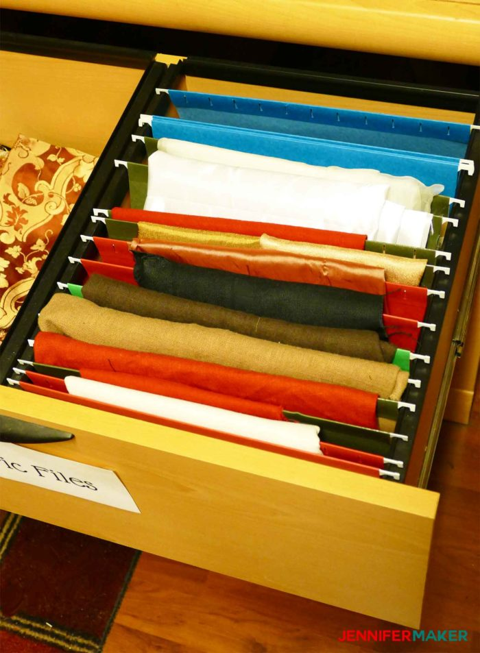 Hanging folders in a file drawer are great for storing small pieces of fabric and make a great fabric organization idea and storage solution!