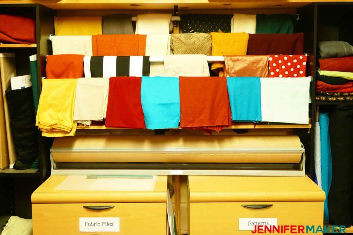 Hanging rods can be great for fabric organization and storage