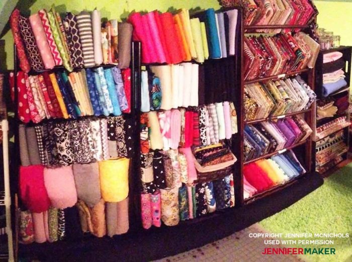 Store fabric in old DVD shelves for a great fabric organization idea!