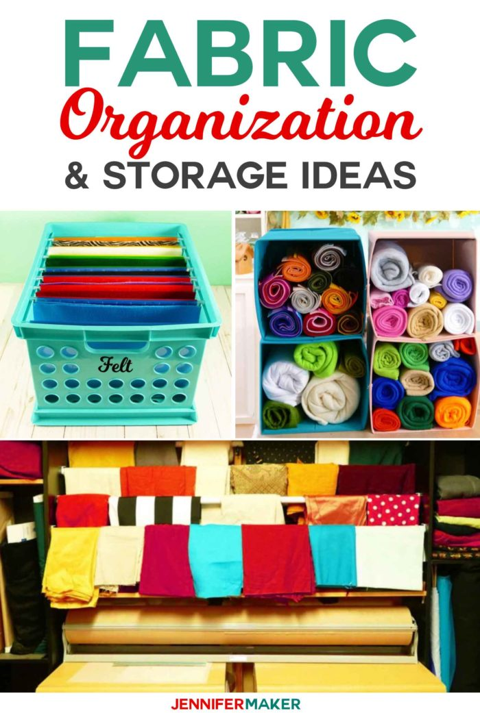 Organize and store your fabric with these great organization ideas and storage solutions! #craftroom #storage #organization #fabric #sewingroom