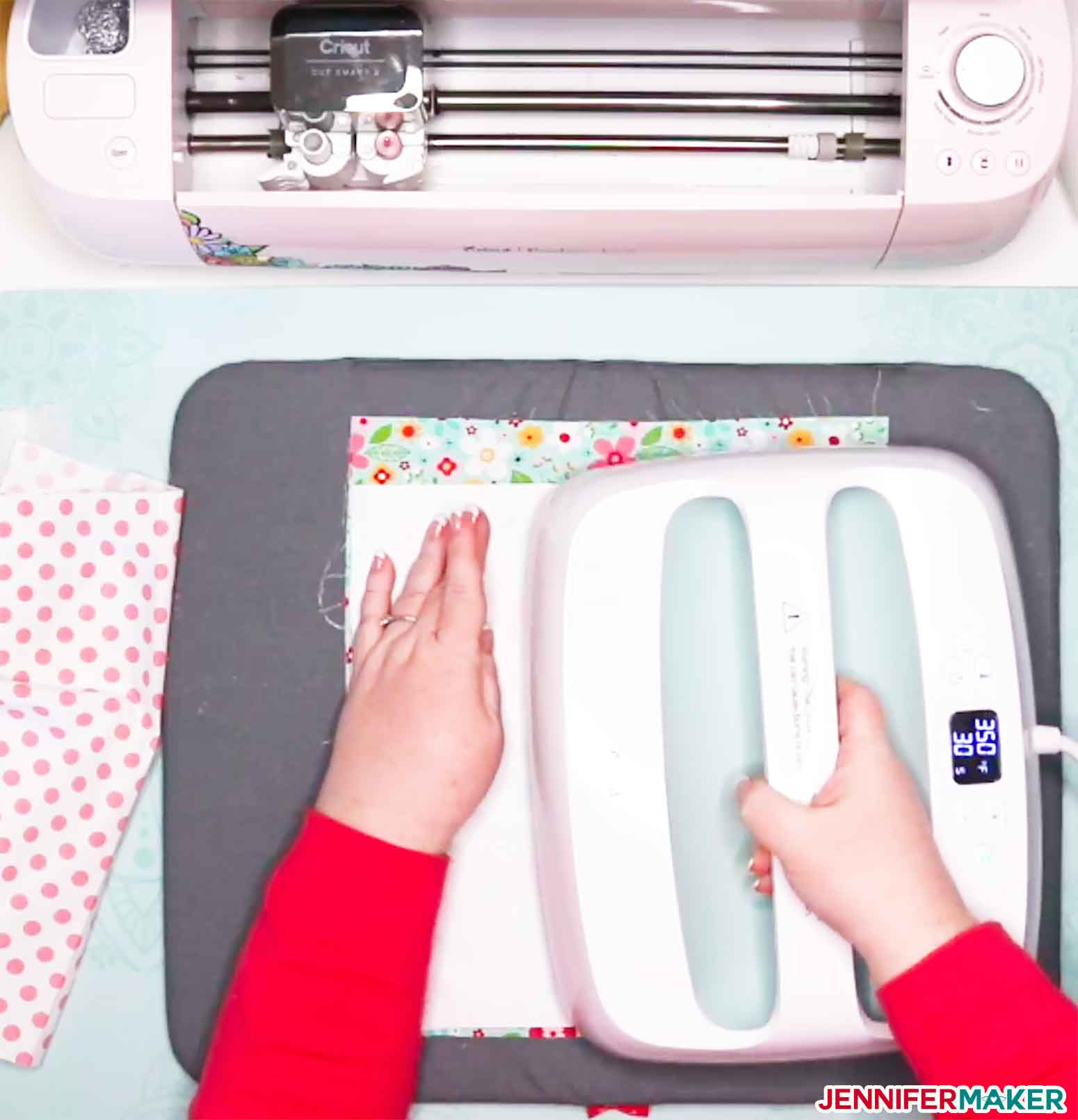 Bonding Freezer paper to a piece of woven cotton so it can be cut on a Cricut Explore