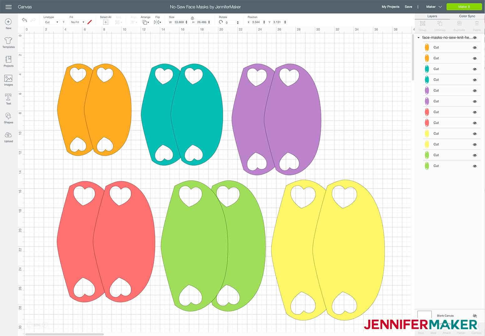 The no-sew face mask SVG cut file uploaded to Cricut Design Space