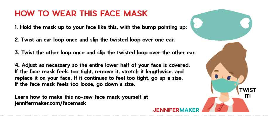 Printable instructions on how to wear the no-sew face mask