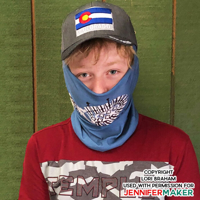 Gaiter Face Mask for children made on a Cricut Maker cutting machine