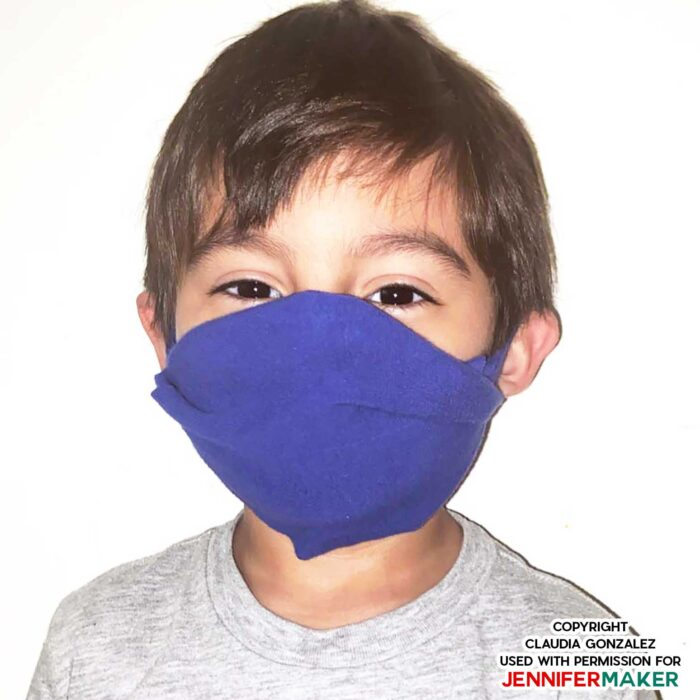 No Sew Face Mask for children made on a Cricut Maker cutting machine