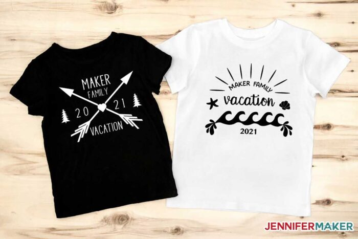 Black and White Family Vacation T-Shirts Made on a Cricut