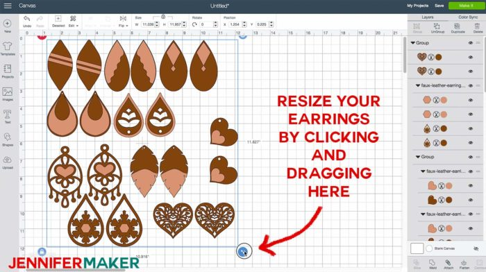 Resizing the earring designs in Cricut Design Space to make Faux Leather Earrings