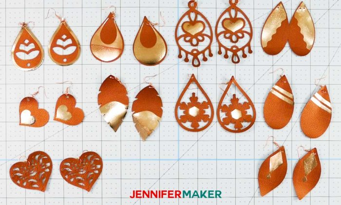 Super cute diy faux leather earrings with earring hooks and made on a Cricut!