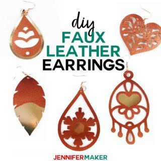 DIY Faux Leather Earrings with Foil Vinyl HTV Made on a Cricut #cricutexplore #cricutmaker #earrings