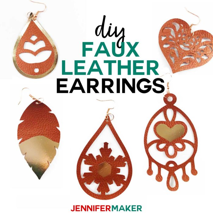 DIY Faux Leather Earrings with Foil Vinyl HTV Made on a Cricut #cricutexplore #cricutmaker #earrings