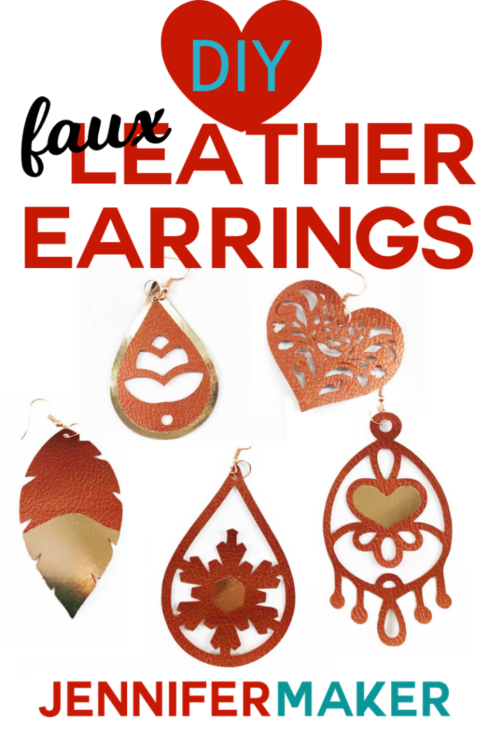 DIY Faux Leather Earrings with Foil Vinyl HTV Made on a Cricut #faux #cricutexplore #cricutmaker #earrings #cricutmade