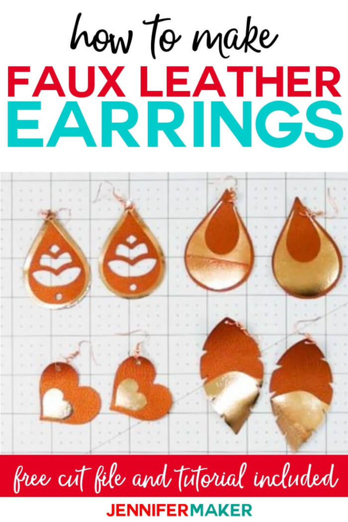 Learn how to make faux leather earrings with foil vinyl on your Cricut! This step by step tutorial includes 10 different SVG earring designs for you! #cricut #cricutmade #cricutmaker #cricutexplore #svg #svgfile