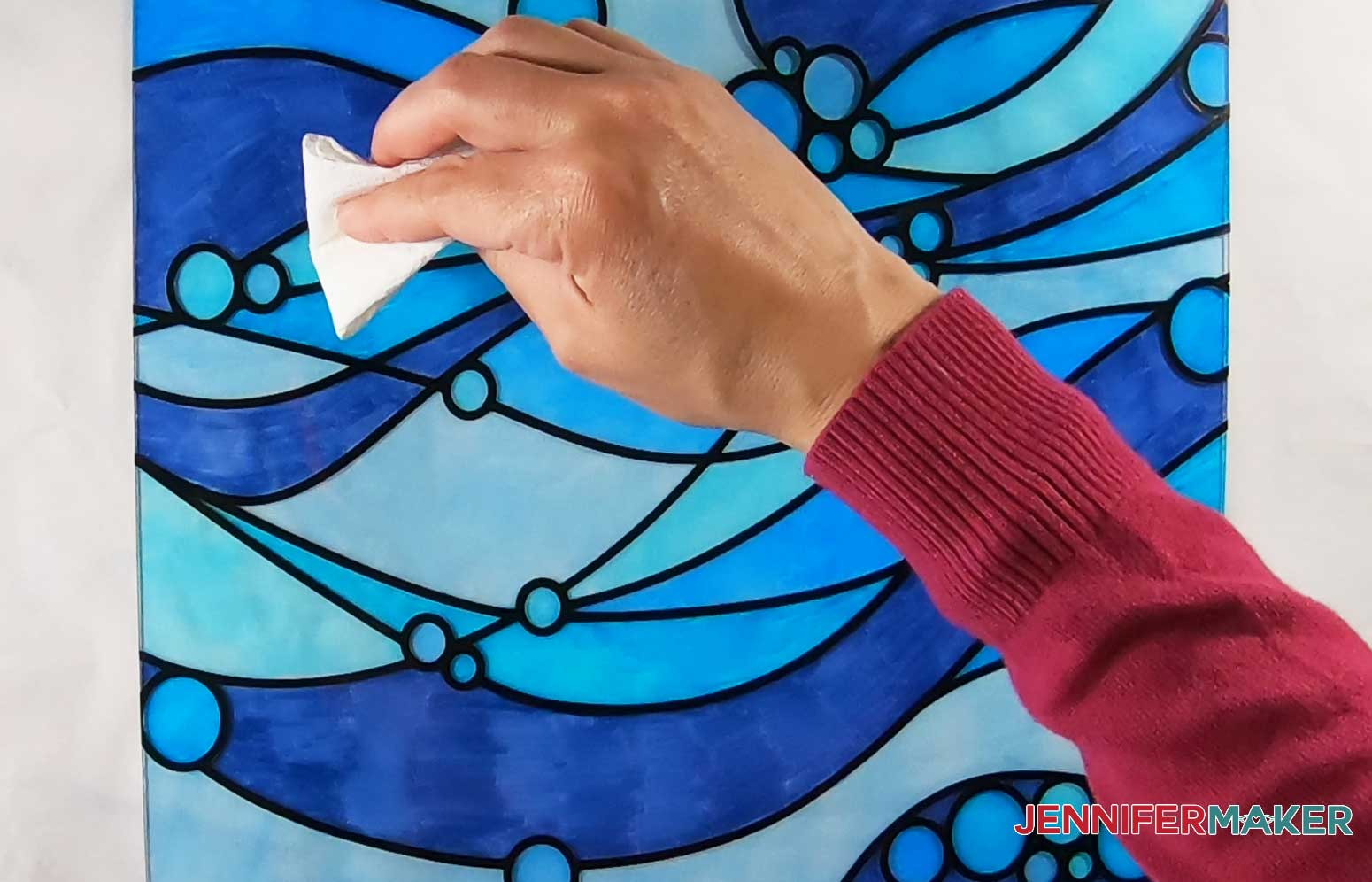 Use alcohol to remove color or fix areas of color on faux stained glass