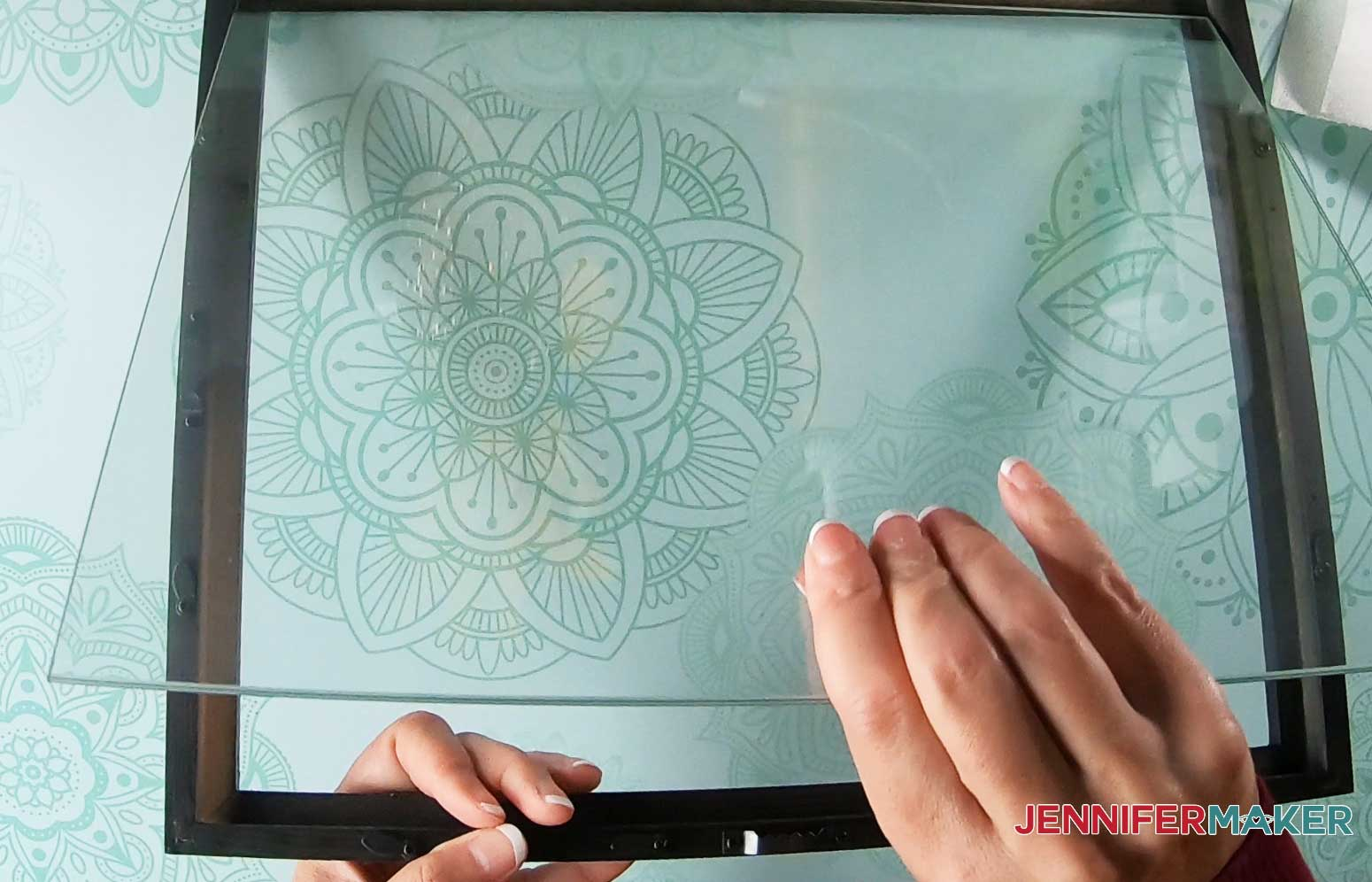 Remove glass from faux stained glass frame