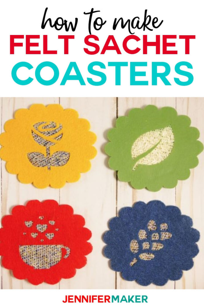 Learn how to make felt sachet coasters with this step by step tutorial. These coasters are perfect for chilly autumn days or even to give as a gift. #cricut #cricutmade #cricutmaker #cricutexplore #svg #svgfile