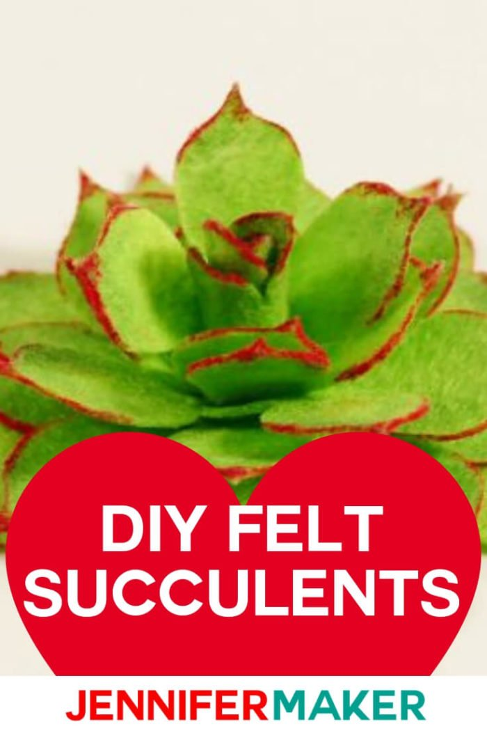 Learn how to make DIY felt succulents with this step by step tutorial and free SVG cut file from Jennifer Maker. #cricut #cricutmade #cricutmaker #cricutexplore #svg #svgfile
