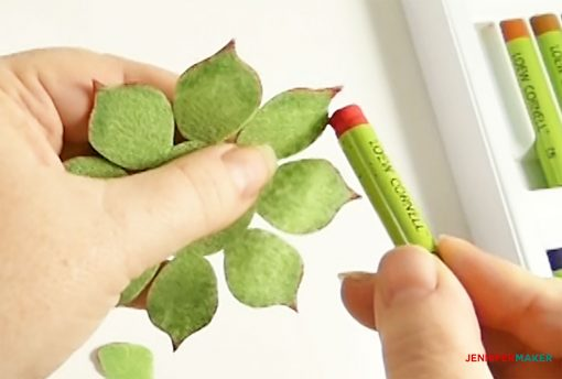 Color the edges of your leaves with a pastel oil crayon