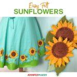 Felt Sunflowers made with the Cricut Wavy Blade to embellish a Cricut Dress | #cricut #felt #sunflower #cricutmaker