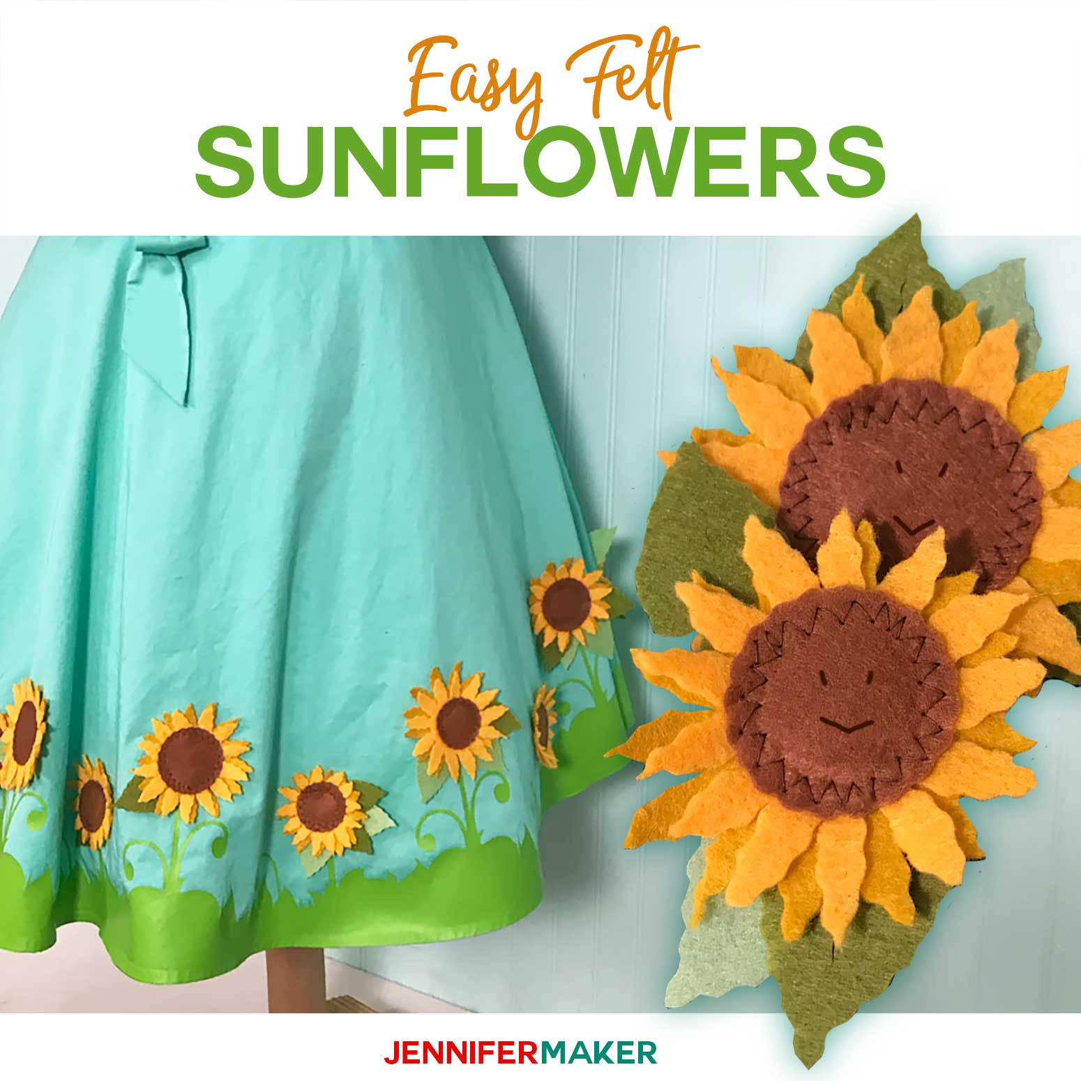 Felt Sunflowers made with the Cricut Wavy Blade to embellish a Cricut Dress | #cricut #felt #sunflower #cricutmaker