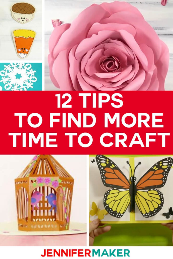 Find more time to craft with these 12 simple tips. You'll be able to carve more time into your schedule when following these tips to enjoy more crafting time. #papercrafts #papercrafting #cricutprojects
