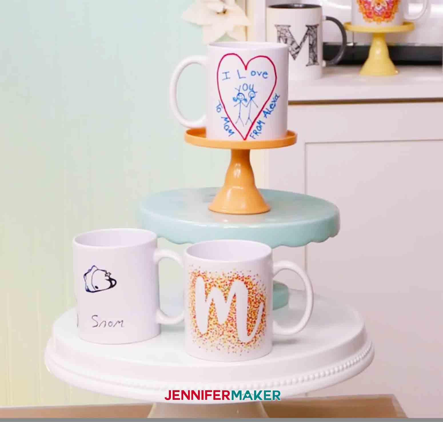 showing three freehand mugs on pedestal jennifermaker