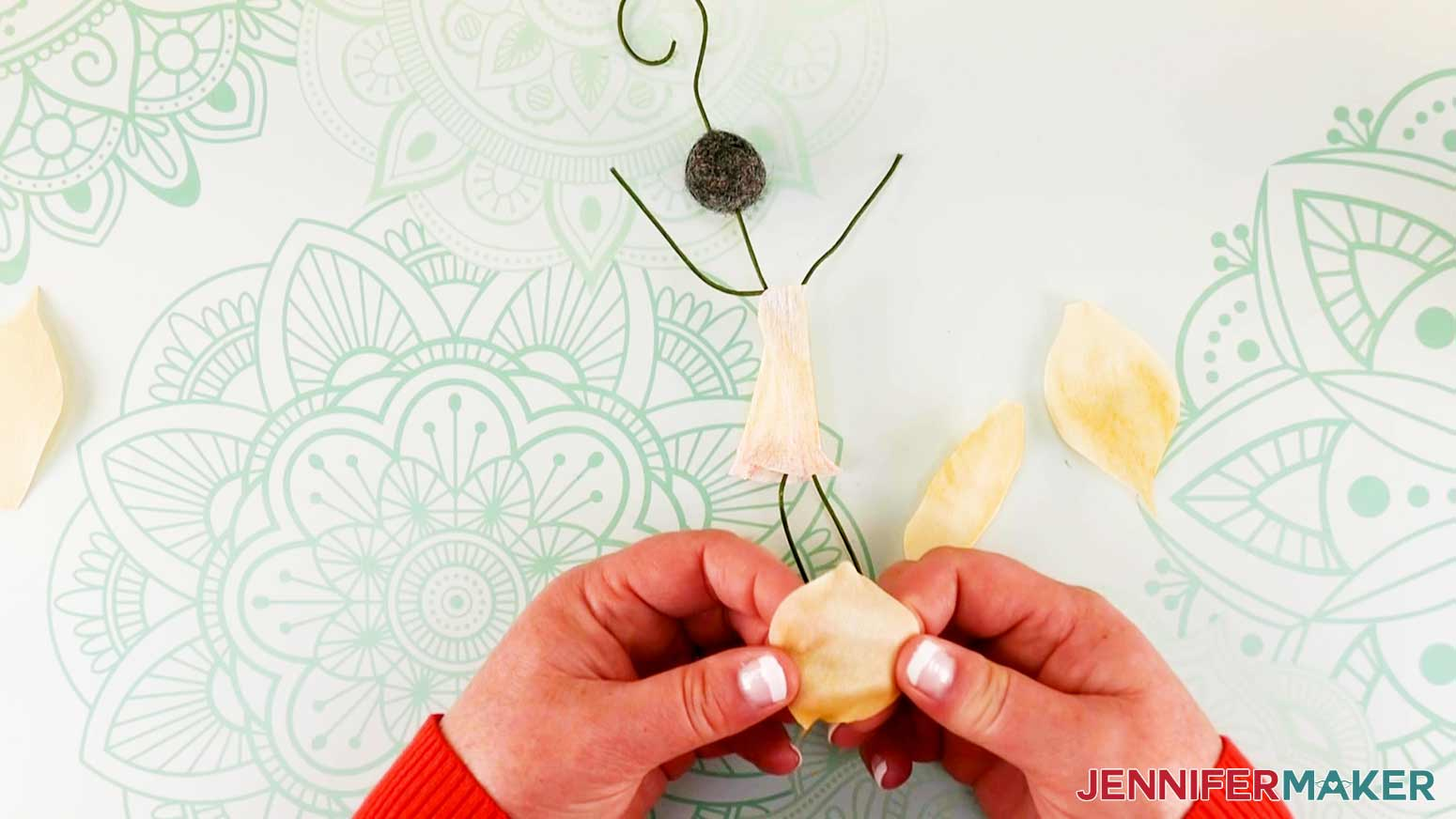 Shaping petals of daffodil flower fairy doll