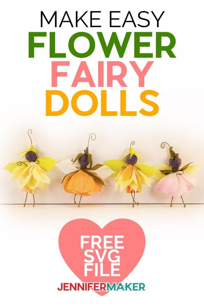 Make your own flower fairy dolls #cricut #home decor #gardendecoration