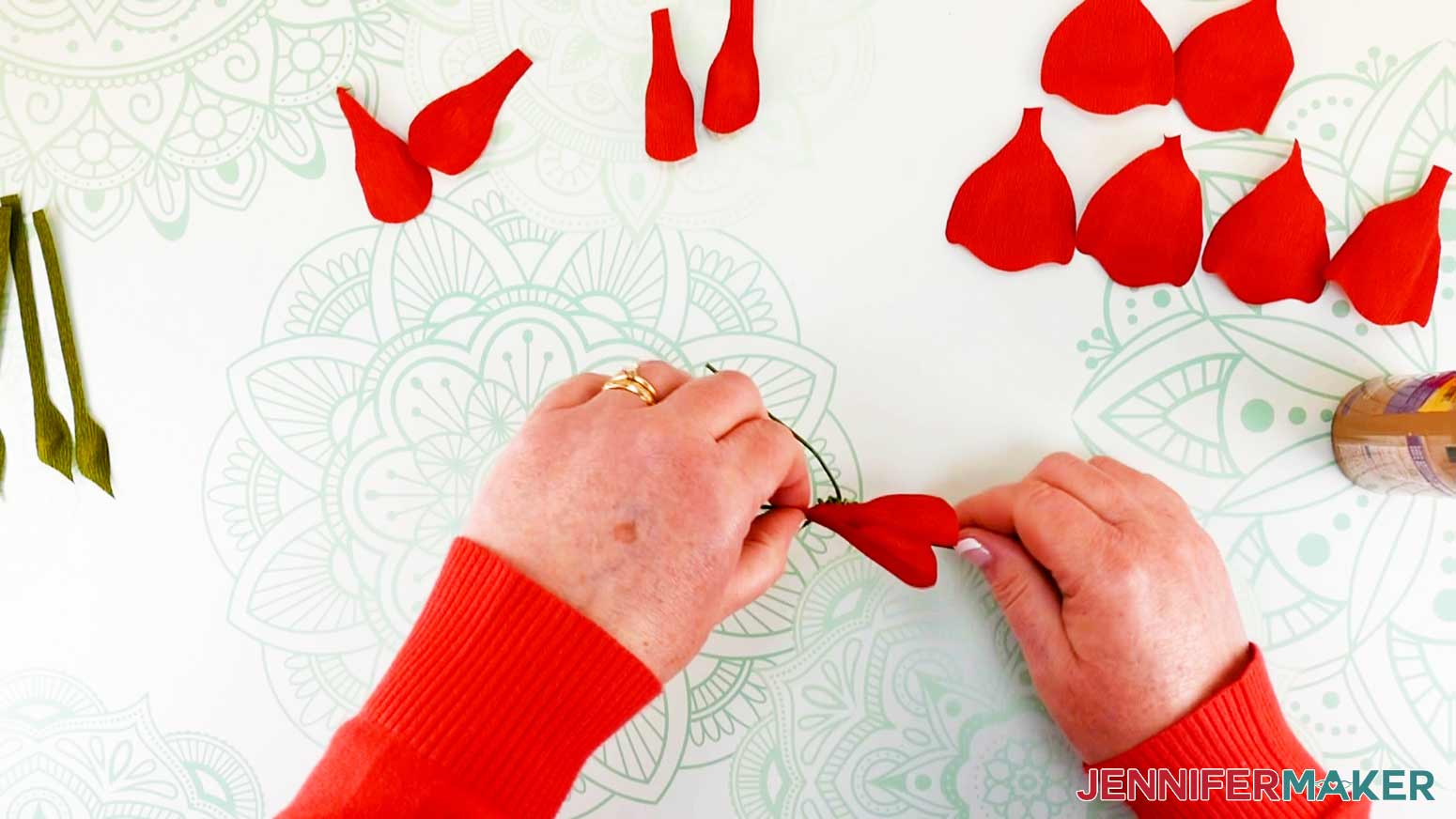 Attaching and overlapping all small petals of the peony flower fairy doll