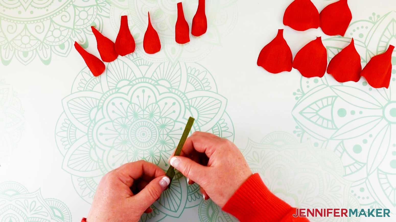 Shaping the bodice leaves of the peony flower fairy doll