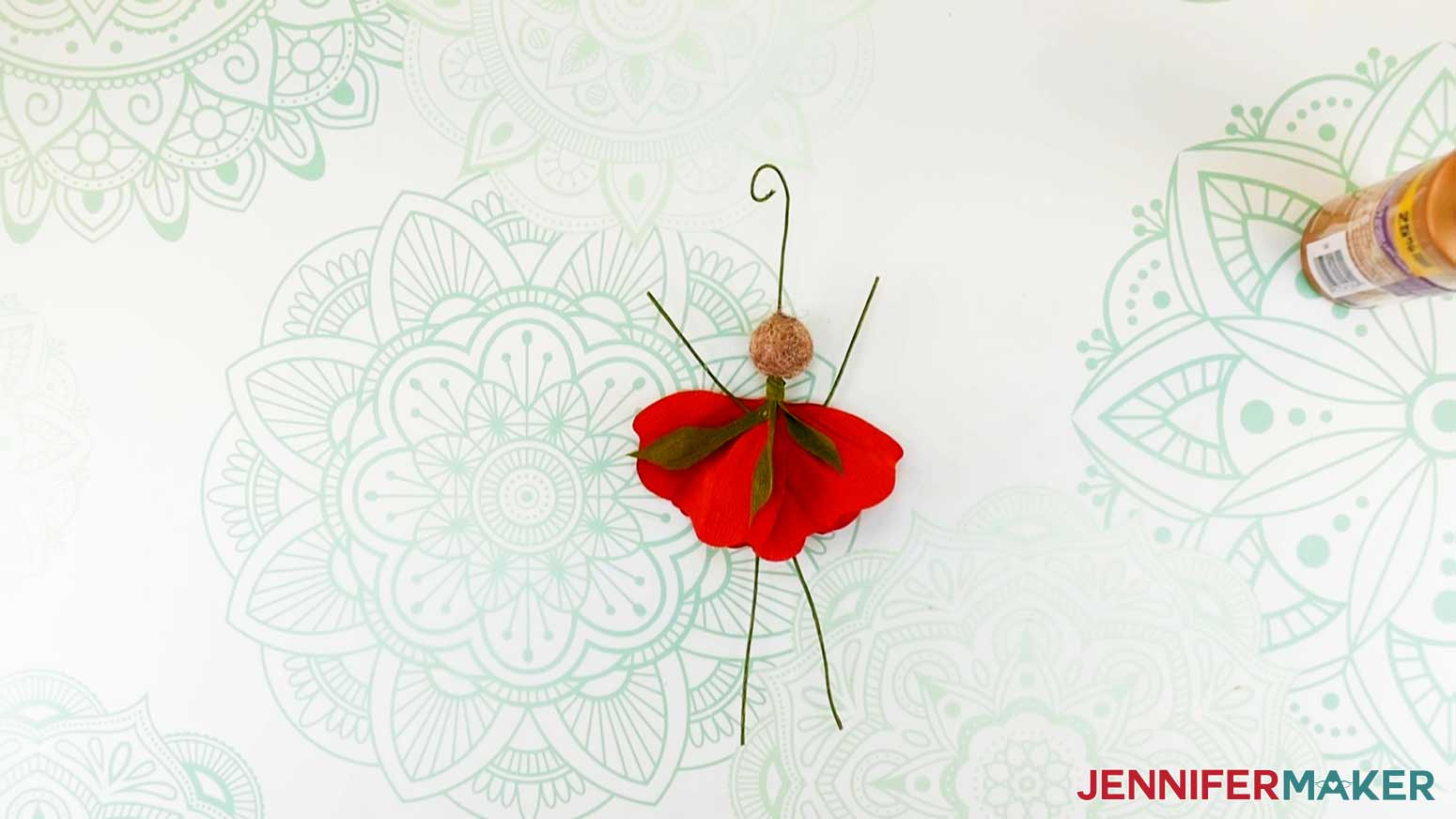 Peony flower fairy doll with all petals and bodice leaves in place