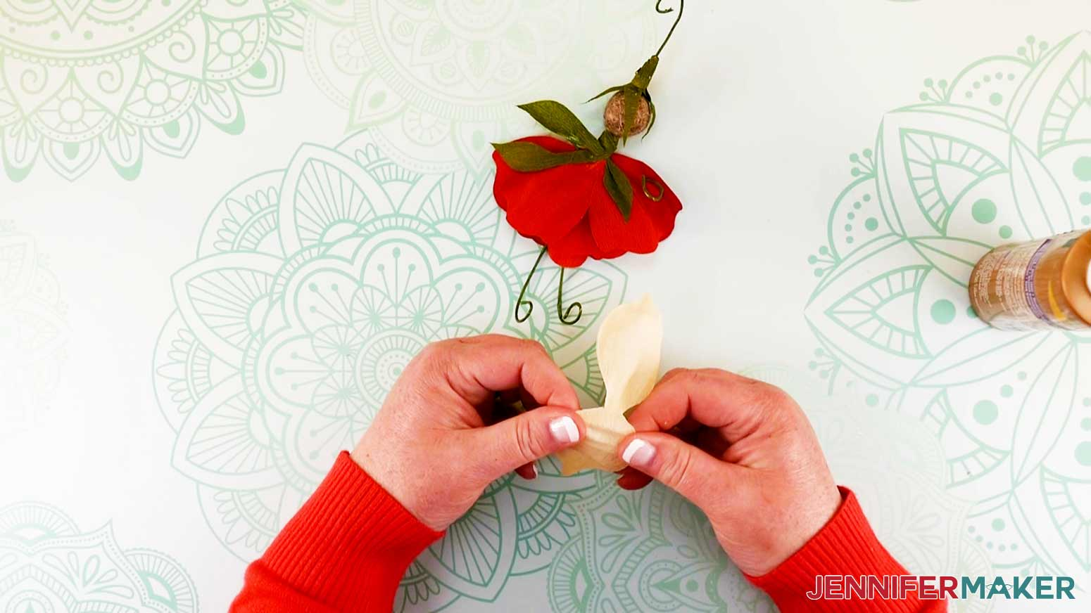 Shaping wings of flower fairy doll