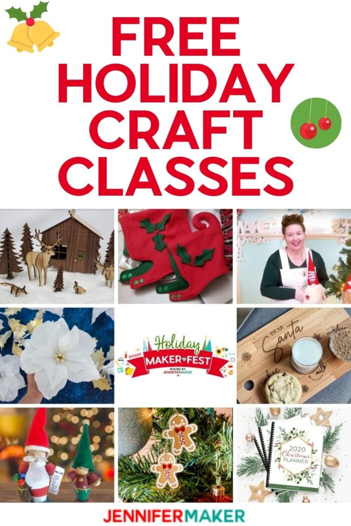 Signup for free holidays classes at the Holiday Maker Fest, November 4-8, 2020 #cricut #glowforge #sewing