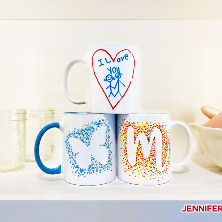 Freehand Infusible Ink marker mugs with dotted butterflies and monograms, plus kids art