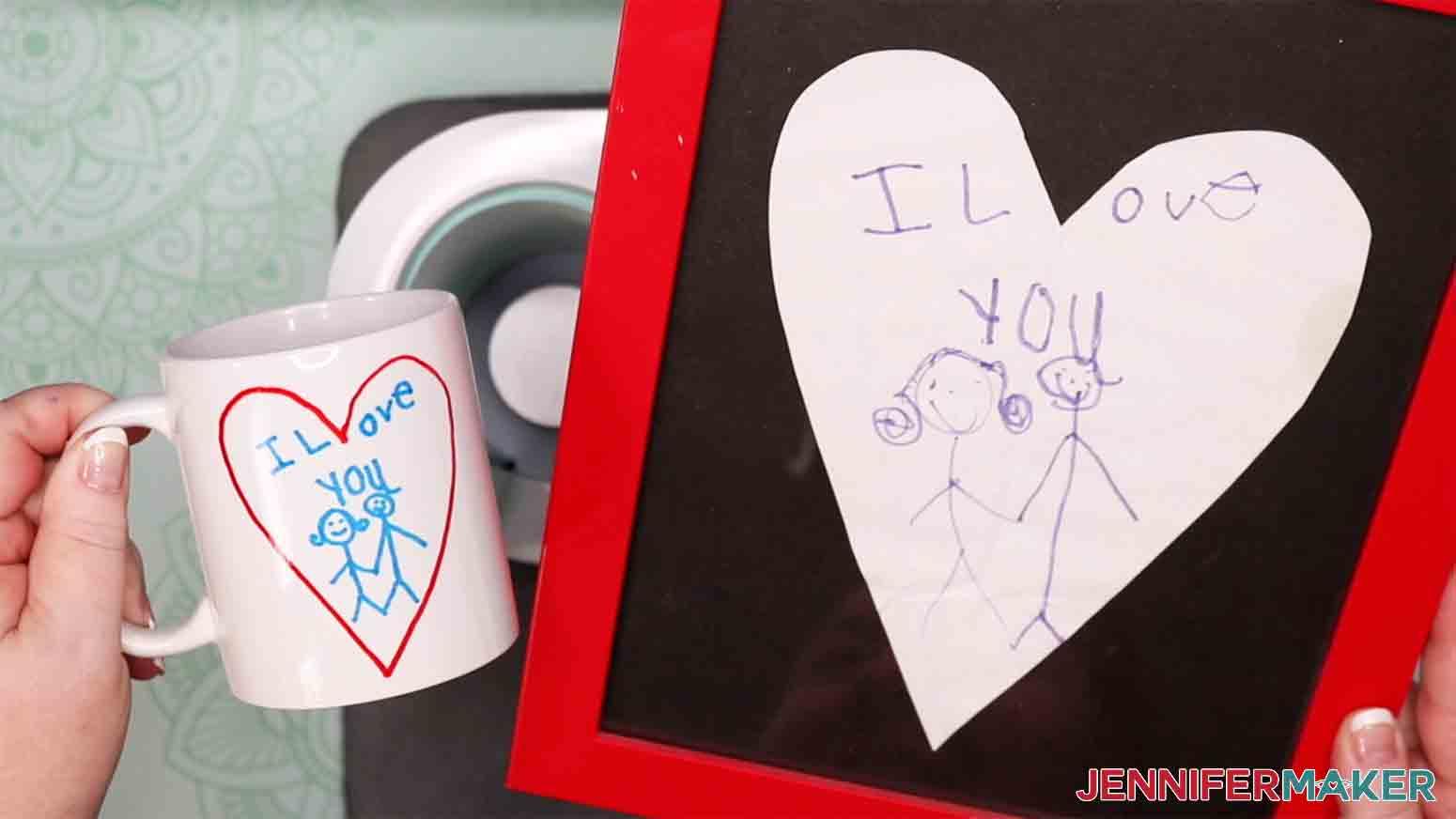 showing side by side kid artwork mug