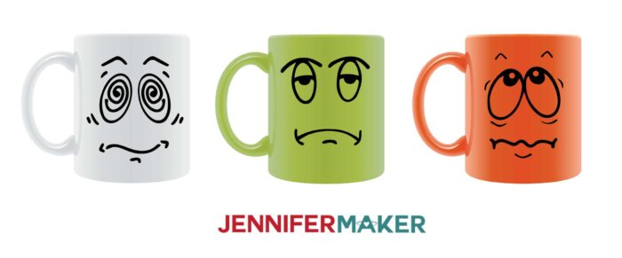 Funny faces pre-coffee mugs made with Cricut vinyl