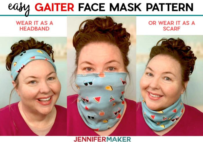 Easy Gaiter Face Mask PatternEasy Gaiter Face Mask Pattern with Filter Pocket and Nose Wire - free printable pattern and SVG cut file #sewing #cricut #tutorial