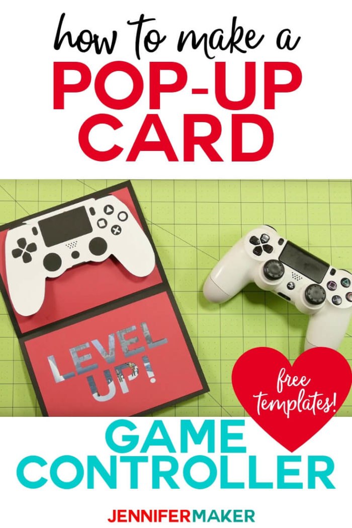 This DIY popup game controller card is perfect for the gamer in your life -- there's even a spot to hide a gift card in the controller! Download the free SVG and tutorial to make this card today! #cricut #cricutmade #cricutmaker #cricutexplore #svg #svgfile
