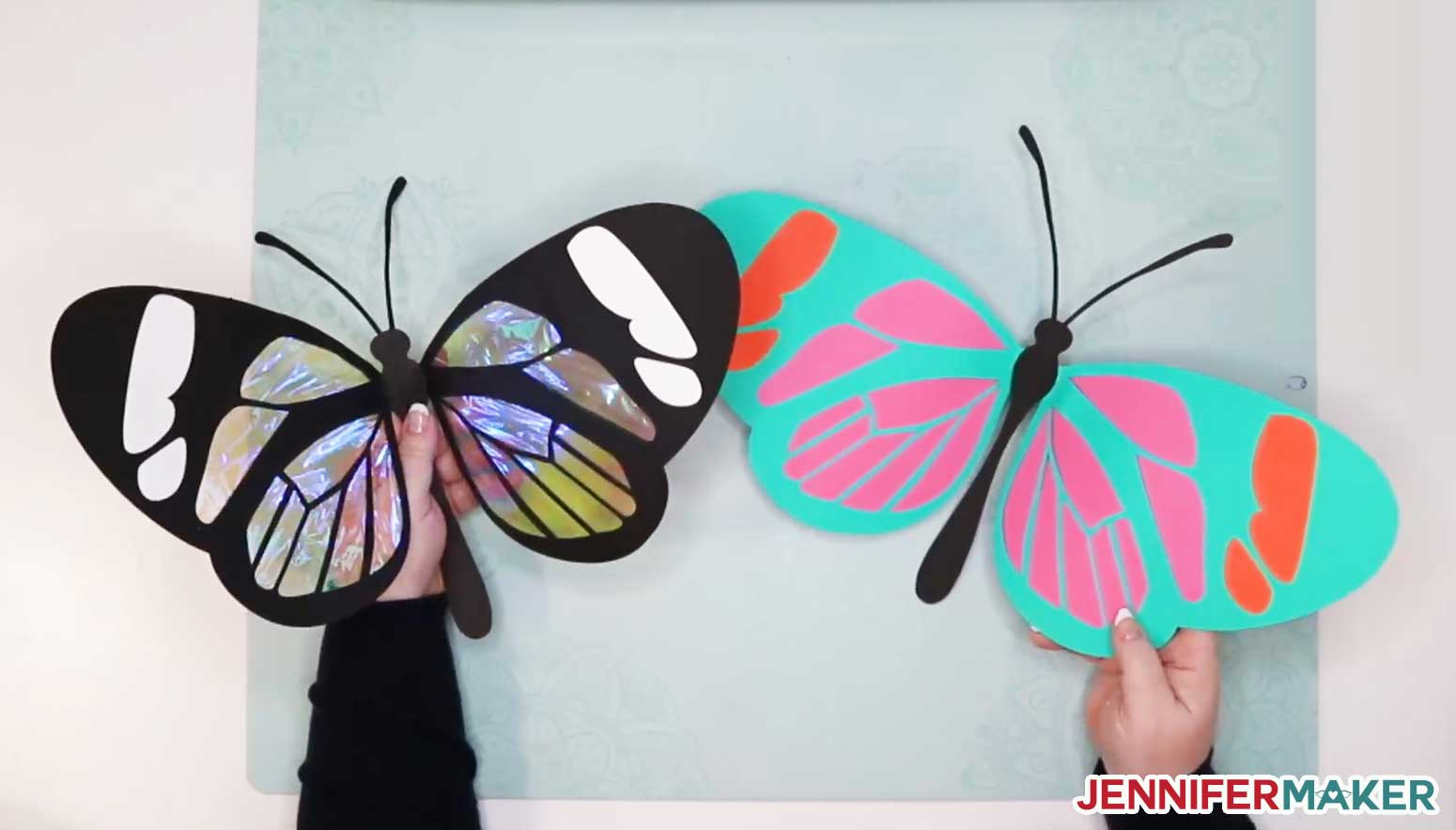 Big and beautiful giant paper butterflies made on a Cricut