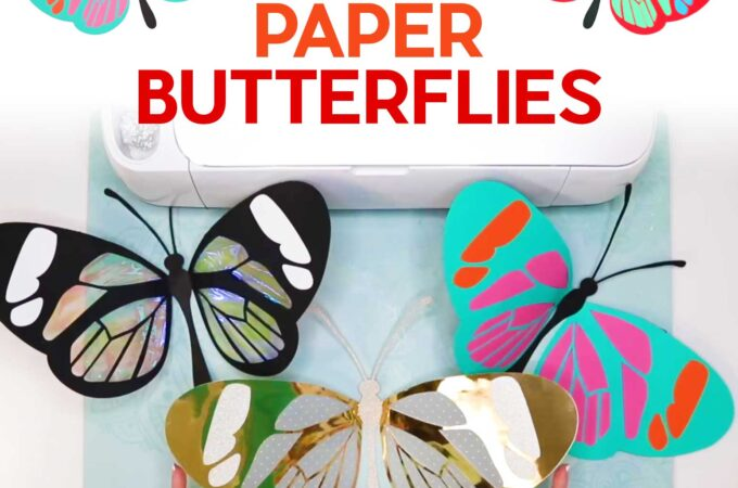 Make Giant Paper Butterflies with wings that bend and move! Full tutorial and free pattern. #cricut #butterfly #papercraft