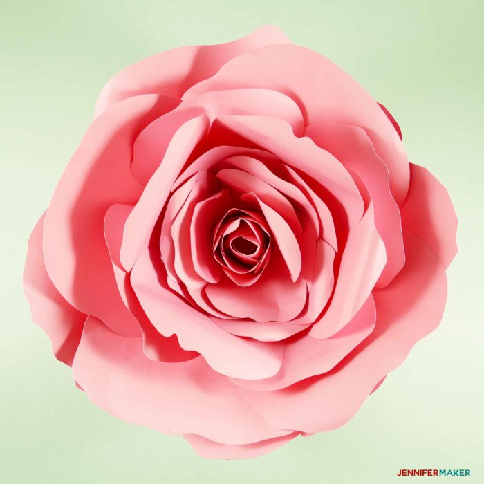 DIY Giant Paper Flower - the Spellbound Rose | Complete Tutorial, Free Pattern #paperflower #cricut #weddingdecor