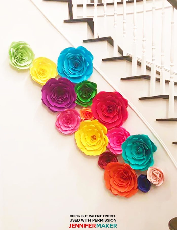 Giant paper rose arrangement for a wedding shower #cricut #cricutmade #svgfile #paperflowers